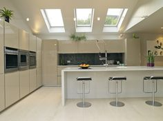 Attractive Tri-fold Tempered Glass Fixed Velux Skylights  With Rooflights As Decorate Modern White Kitchen Design With White Island Bar And Stool Decoration Views