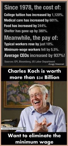 War on Workers... Keep you Poor, Workers are easier to manipulate!! In an interview w/ The Wichita Eagle on Tuesday, Charles Koch said that doing away with the Federal Min. Wage requirement in the United States would benefit the poor. According to Mr. Koch, who is the CEO of Koch Industries, a multi-billion dollar mega-corporation who has its Fat-Greedy Paws in about everything, including Puppet Politicians' pocketbooks!!