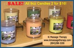 CANDLE SALE! Ki Massage Therapy in Richmond, VA (804)288-3200 5500 Monument Av, Suite O, Richmond, VA  23226 (804)288-3200 Available scents include Honey & Spice, Cucumber Melon, Lemon Poppy Seed, Love Spell, Lavender, Creme Brulee, French Vanilla, Reindeer Poo, Cranberry Spice, Coffee Shop (a triple pour of Cappucino, Creme Brulee, and Hazelnut), Jack Frost, and Mistletoe.