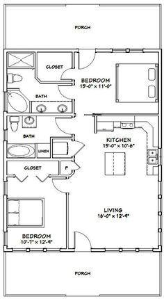 The Plan, How To Plan, 2 Bedroom House Plans, Cabin House Plans, 2 Bedroom Apartment Floor Plan, Tiny House 2 Bedroom, 30x40 House Plans, Bedroom Bed, Cheap House Plans