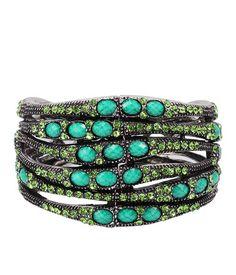 Captivating Snake Silver Alloy And Green Resin Stone Bracelet