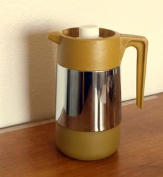 Vintage Butterscotch Carafe Retro Coffee Beverage Server Chrome by ThatOneThing on Etsy