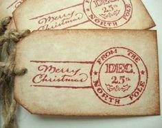 Rustic Christmas Tags North Pole Postmark Vintage Style