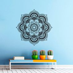 Wall Decal Mandala Decals Indian Pattern Vinyl Sticker Yoga Namaste Wall Decor…