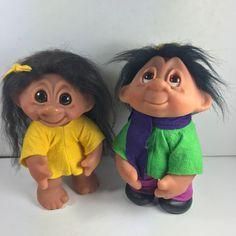 "(2) Vintage 1982 DAM Troll Dolls #243 & #604 Felt Clothes 10"" Tall #Dam #DollswithClothingAccessories"