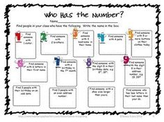 FREEBIE Back to School Math Number Hunt by Games 4 Learning is a getting to know you math activity for the start of the school year.