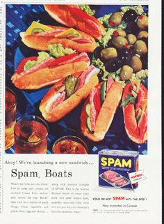 """1957 SPAM vintage magazine advertisement """"Spam Boats"""" ~ Ahoy! We're launching a new sandwich ... Spam Boats ... Watch the folks sail into these! ... Cold or hot SPAM hits the spot! ~"""