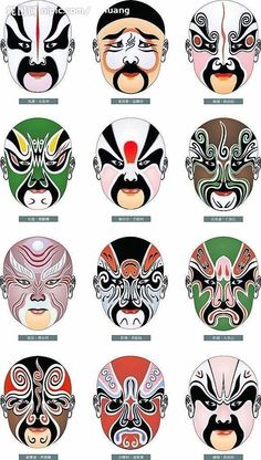 Chinese Culture is awesome! Learn Chinese language from Karen - A Chinese girl. I will master you in pronouncing chinese words with Pinyin. Chinese Opera Mask, Chinese Mask, Geisha, Chinese Crafts, Peking, Chinese Element, Japanese Mask, Chinese Patterns, Art Japonais