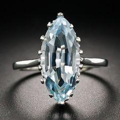 Vintage Navette Aquamarine Ring in Platinum - 30-1-5193 - Lang Antiques