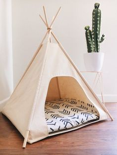 """Dog / Cat Teepee Pet Tent - Small 24 """"Base Natural, Gray, or Black . - Dog / Cat Teepee Pet Tent – Small 24 """"Base Natural, Gray, or Black Canvas Choose Your Pillow or - Diy Tipi, Cat Teepee, Teepee Tent, Cat Tent, Canvas Teepee, Puppy Room, Dog Rooms, Diy Interior, Home Decor Fabric"""