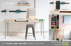 HomeMade Modern DIY The Flip Desk Postcard. What a great website for DIY modern furniture. Home Projects, Home Crafts, Homemade Modern, Wooden Desk, Home Upgrades, Diy Desk, Diy Crafts Videos, Diy Woodworking, Diy Furniture