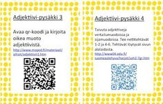 Sanaluokat: adjektiivit ja sijamuotoja Bingo, Grammar, Literacy, Periodic Table, Language, Teaching, Education, School, Historia