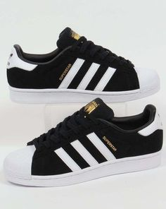 competitive price cb6c5 ad247 Adidas Originals - Adidas Superstar Suede Trainers in Black   White - shell  toe