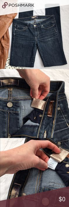 "Paige Peg Skinny Jeans Paige Peg SkinnyJeans size 28 A subdued dark blue with grey undertones called Bardot. The best wash in jeans I've Ever seen! The coolest intentional whiskering at hip and upper thighs. I Seriously LOVE these, the color most of all. The cut is amazing and looks So good on the bum. I just can't justify keeping them because they're too big so I never wear them 😩 If you have them in a 26 or 27 let me know! 8 inch front rise, 32.5 inch inseam (nice length for me at 5'6"")…"