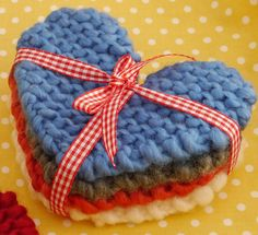 Free Knitting Pattern for Heart Coasters - Photo tutorial for heart-shaped coasters by Julie & The Knits at Mollie Makes