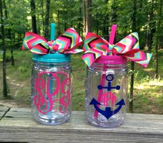 Large Monogrammed Mason Jar Tumbler with by MSMudpieBoutique, $17.75
