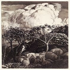 Samuel Palmer, Drawing for The Bright Cloud, Indian ink with scratching out  Shoreham, Kent, 1831-32