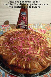 Gâteau aux pommes, coulis chocolat/framboise et perles de sucre