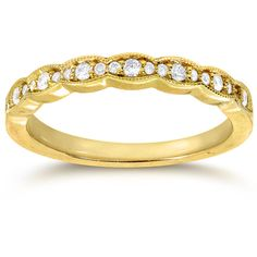 Annello 14k Yellow Gold 1/6ct TDW Round-cut Diamond Wedding Band (€310) ❤ liked on Polyvore