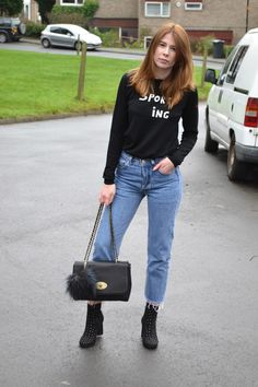 Bella freud jumper from Fred perry, Blue vintage Levis 501 with black studded boots from ASOS. Mulberry style bag with river island pom pom. Affordable women's fashion blog. Alexa chung style. Vogue  Bella freud jumper from Fred perry, Blue vintage Levis 501 with black studded boots from ASOS. Mulberry style bag with river island pom pom. Affordable women's fashion blog. Alexa chung style. Vogue