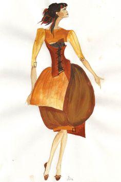 Verspielte Designer-Kleid. Aquarellmodezeichnung, original, direkt von Kunstlerin.   Farben: Gold-Gelb, Orange, Terracotta, Braun auf weiße Papier A4.