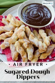Air Fried Sugared Dough Dippers with Chocolate Amaretto Sauce are as fun to eat as they are to make. Twist dough into small sticks and air fry for a few minutes. Then just toss in some sugar. They make a great dessert and snack. Air frying the dough is much better for you than deep fried. #bluejeanchef #airfrieddesserts Chef Recipes, Cooking Recipes, Bread Recipes, Dinner Recipes, Blue Jean Chef, Frozen Bread Dough, Sugar Dough, Air Frier Recipes, Air Frying