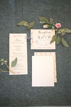 Rustic Blush, Gold and Navy Wedding Invitation Suite