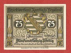 Germany Auerbach 75 pfennig 1921 banknote notgeld vogtland besirksverband Banknote, S Pic, Germany, Coins, Money, Deutsch