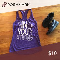 """Fitness tank 💪🏽 Purple racer back fitness tank with inspiration quote """"find your strong"""". 60% cotton 40% polyester. Perfect for your next workout. Ask me about my fitness tank bundle. Tops Tank Tops"""