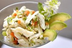 Crab, Carrot, Caper, Avocado and Lime Salad. May add crouton