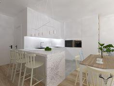 Minimalizm, kuchnia w bieli, granit, wyspa, barek, vintage, Interior Design, Table, Furniture, Vintage, Home Decor, Nest Design, Decoration Home, Home Interior Design, Room Decor