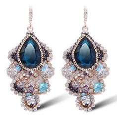 Find More Drop Earrings Information about Long brinco women Bohemia Austrian Crystal personality HOT earings Lovely aretes elegant  drop earrings boucle d'oreille,High Quality earrings bezel,China earrings nickel Suppliers, Cheap earring flower from Cool Angel Girl on Aliexpress.com