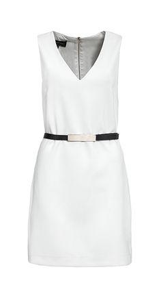 Mango - Weißes Kleid mit schwarzem Gürtel