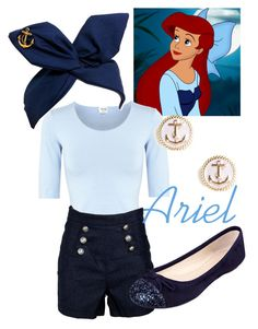 """""""Ariel - Kiss the Girl"""" by disneywithalicia ❤ liked on Polyvore featuring Armani Collezioni, Nine West, BaubleBar and disney ariel kiss the girl disney fashion"""