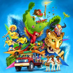 Fiesta Colombia by Karlos Velásquez, via Behance Colombian Culture, Colombian Art, Colombia Independence, Columbia South America, Cali Colombia, Colombia Memes, Colombia Travel, Jeepney, Ocean Photography
