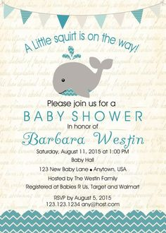 Baby Shower. Whale Baby Boy Shower Invitation Under The Sea Party Whale Baby Shower Invitation Sample.