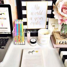 Home office - Desk styling via The Teacher Diva Home Office Decor, Office Desk, Home Decor, Office Spaces, Teacher Desk Organization, Organization Ideas, Organizing, Desk Redo, Desk Styling