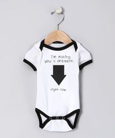 Take a look at this Boo Rad Lee Designs White 'Making You a Present' Ringer Bodysuit - Infant on zulily today!