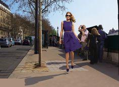 Un automne à Paris chez Cyrillus - La robe bleue chiffon de soie