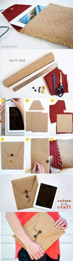 How to Make Ipad Case ! Handmade Ipad case of cork . Materials Needed: Cork Crafts, Diy Crafts, Diy Projects To Try, Craft Projects, Cork Fabric, Idee Diy, Diy Christmas Gifts, Handmade Crafts, Leather Craft