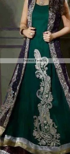 Dark green and silver with dark purple coat   Pakistani maxi dress   dulhan bridal or simple