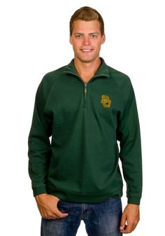 Looks warm! // #Baylor Bears Green 1/4 Zip Pullover