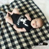 Handmade 32x32 buffalo plaid flannel baby swaddle blanket and personalized deer rack bodysuit, perfect for every future hunter! The blanket is the perfect receiving blanket to wrap your newborn baby boy in when he arrives, and because of it's generous size, will last your little guy well into his toddler years.
