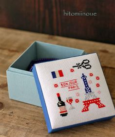 "square box (stitch design :DMC"" travel collection France"")"