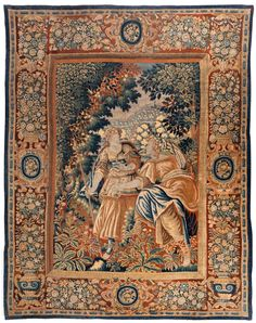 Höhe: 335 cm. Breite: 262 cm. Frankreich/ Flandern, Anfang 17. Jahrhundert. Hochformatig, reich mit Vasenmotiven, Rollwerkkartuschen und dichtem Blütenflor...