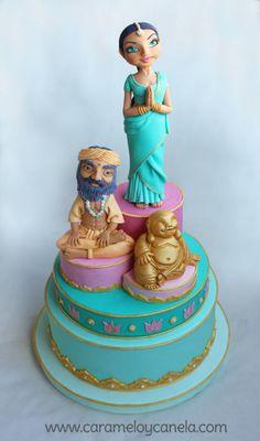 Tarta Hindú Beautiful Cake Designs, Beautiful Cakes, Amazing Cakes, Bollywood Cake, India Cakes, Religious Cakes, Asian Cake, Indian Wedding Cakes, Cake Topper Tutorial