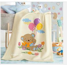 Bebek battaniyesi Baby Quilts To Make, Handmade Baby Quilts, Baby Girl Quilts, Quilt Baby, Boy Quilts, Cross Stitch For Kids, Cross Stitch Baby, Baby Embroidery, Cross Stitch Embroidery