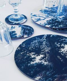 Trees Two Blue placemats and coasters from £15