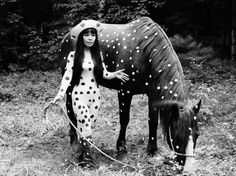 "In this 1967 photo released by Yayoi Kusama Studio Inc., Japanese artist Yayoi Kusama poses with a horse in a happening titled ""Horse Play"" in Woodstock, New York. Yayoi Kusama, Andy Warhol, Auguste Rodin, Louis Vuitton, Pop Art, Avant Garde Artists, Oldenburg, Auras, Cultura Pop"