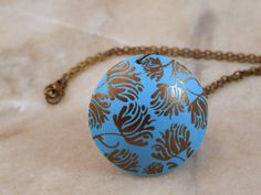 Bronze Silk Screened Floral Polymer Clay by DelightfullyTwisted